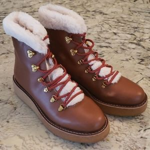 J Crew Leather winter boots wedge sole AT828